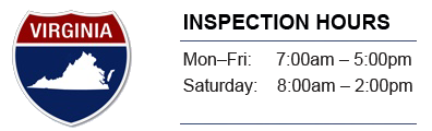 Inspection Hours - Mon-Fri 8:00-6:00, Saturday 8:00-2:00, Sunday 9:00-1:00